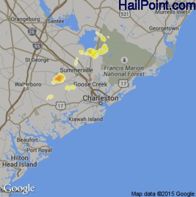 Hail Map for Charleston, SC Region on August 2, 2012