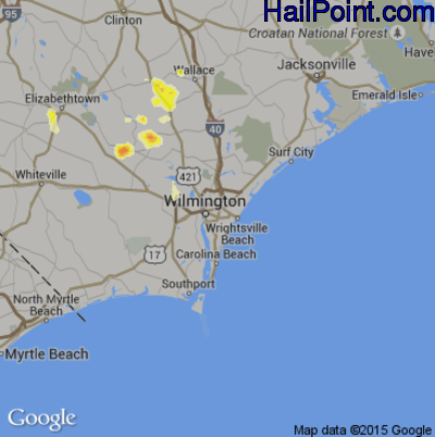 Hail Map for Wilmington, NC Region on August 2, 2012