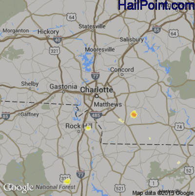 Hail Map for Charlotte, NC Region on August 2, 2012