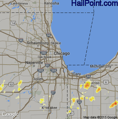 Hail Map for Chicago, IL Region on August 4, 2012
