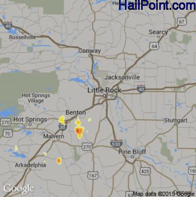 Hail Map for Little Rock, AR Region on August 5, 2012