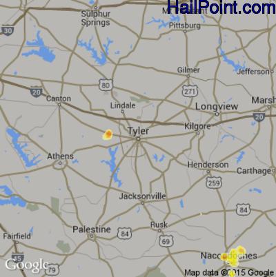 Hail Map for Tyler, TX Region on August 7, 2012