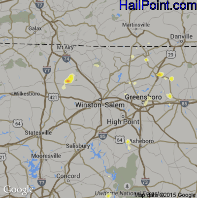 Hail Map for Winston-Salem, NC Region on August 8, 2012