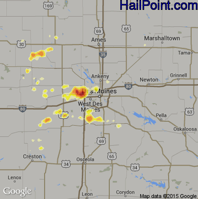 Hail Map for Des Moines, IA Region on August 8, 2012