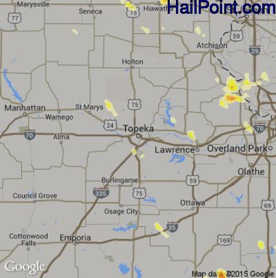 Hail Map for Topeka, KS Region on August 8, 2012