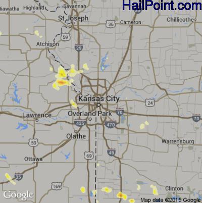 Hail Map for Kansas City, MO Region on August 8, 2012