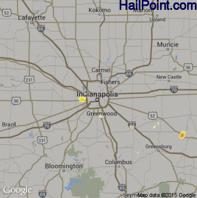 Hail Map for Indianapolis, IN Region on August 9, 2012