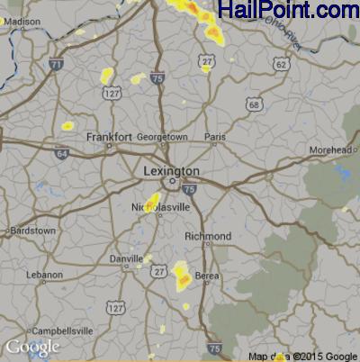 Hail Map for Lexington, KY Region on August 9, 2012