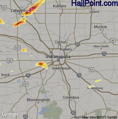 Hail Map for Indianapolis, IN Region on August 10, 2012