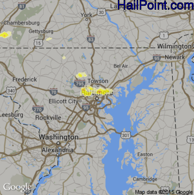 Hail Map for Baltimore, MD Region on August 14, 2012