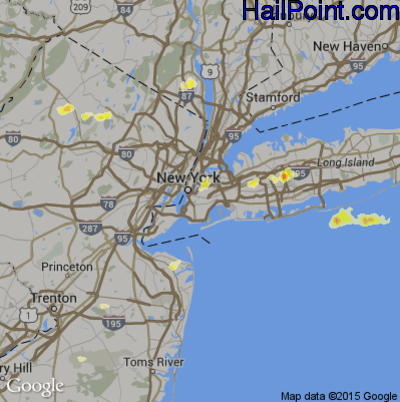 Hail Map for New York, NY Region on August 15, 2012