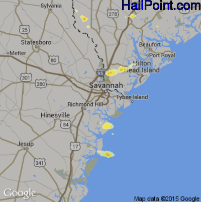 Hail Map for Savannah, GA Region on August 16, 2012