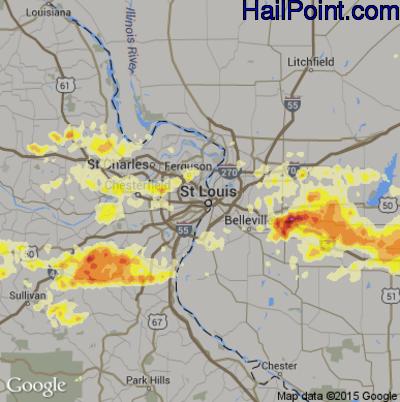 Hail Map for St. Louis, MO Region on September 25, 2012