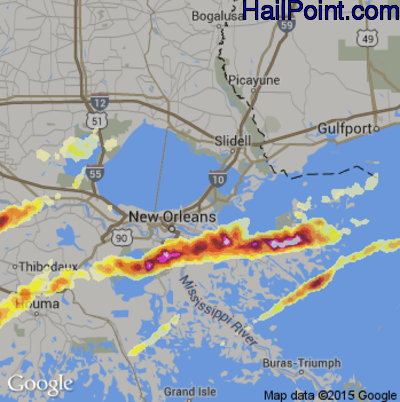Hail Map for New Orleans, LA Region on February 25, 2013