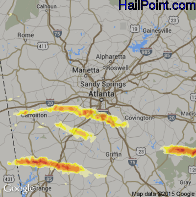 Hail Map for Atlanta, GA Region on March 18, 2013