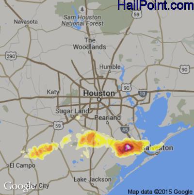 Hail Map for Houston, TX Region on April 3, 2013