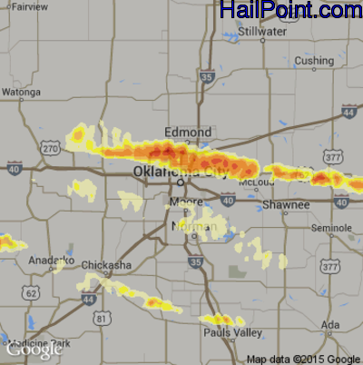 Hail Map for Oklahoma City, OK Region on April 27, 2013