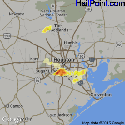 Hail Map for Houston, TX Region on April 27, 2013