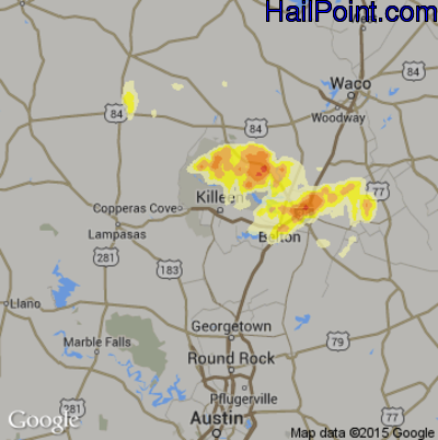 Hail Map for Killeen, TX Region on May 9, 2013