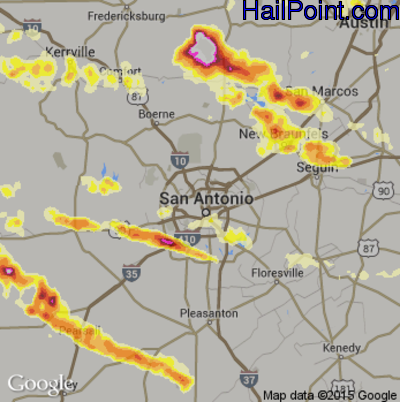 Hail Map for San Antonio, TX Region on May 10, 2013