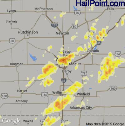 Hail Map for Wichita, KS Region on May 19, 2013