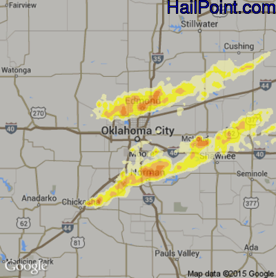 Hail Map for Oklahoma City, OK Region on May 19, 2013