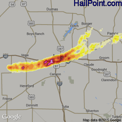 Hail Map for Amarillo, TX Region on May 29, 2013