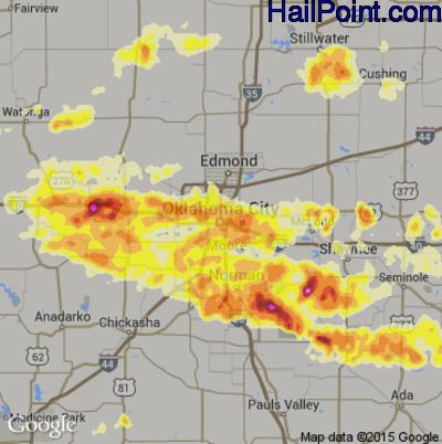 Hail Map for Oklahoma City, OK Region on May 31, 2013