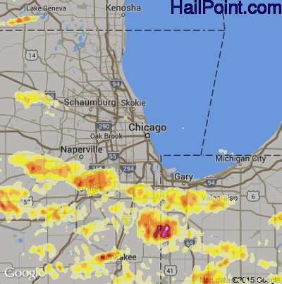 Hail Map for Chicago, IL Region on June 12, 2013