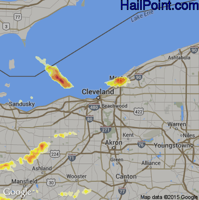 Hail Map for Cleveland, OH Region on June 13, 2013
