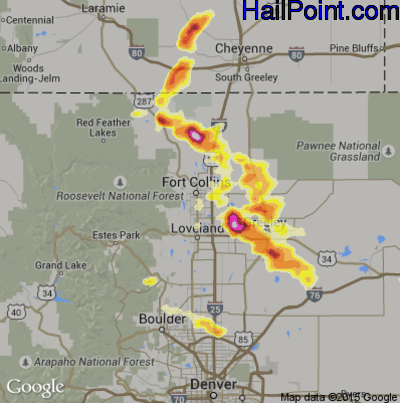 Hail Map for Fort Collins, CO Region on August 3, 2013