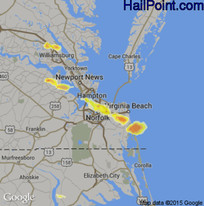 Hail Map for Norfolk, VA Region on August 10, 2013