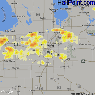Hail Map for Winnapeg, Can Region on August 18, 2013