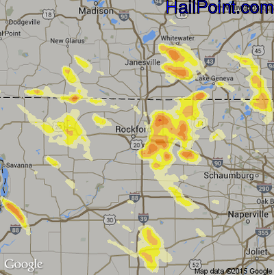 Hail Map for Rockford, IL Region on August 30, 2013