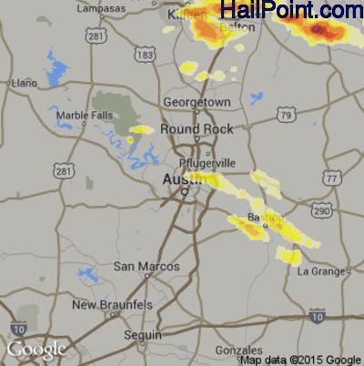 Hail Map for Austin, TX Region on March 28, 2014