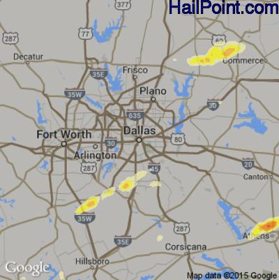 Hail Map for Dallas, TX Region on March 28, 2014