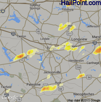 Hail Map for Tyler, TX Region on March 28, 2014