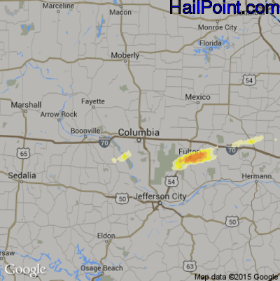 Hail Map for Columbia, MO Region on April 2, 2014