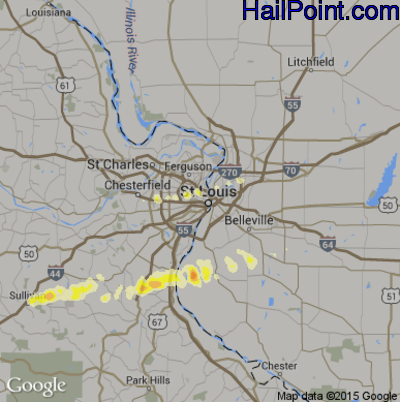 Hail Map for St. Louis, MO Region on April 2, 2014