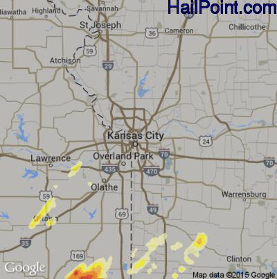 Hail Map for Kansas City, MO Region on April 3, 2014