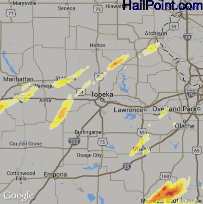 Hail Map for Topeka, KS Region on April 3, 2014