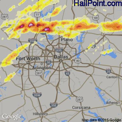 Hail Map for Dallas, TX Region on April 3, 2014