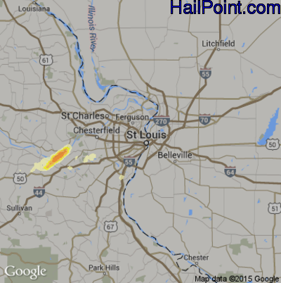 Hail Map for St. Louis, MO Region on April 3, 2014
