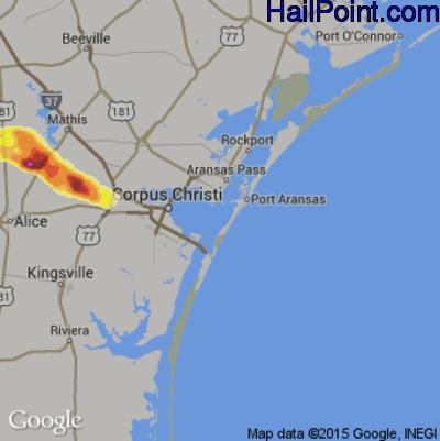 Hail Map for Corpus Christi, TX Region on April 4, 2014