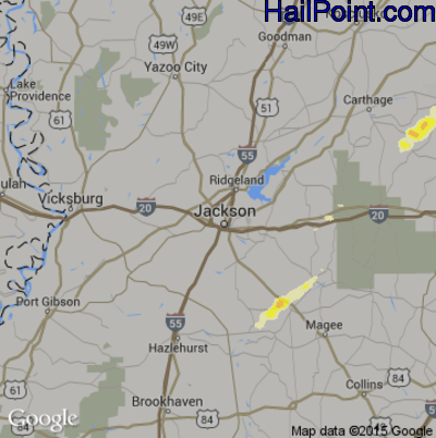 Hail Map for Jackson, MS Region on April 6, 2014