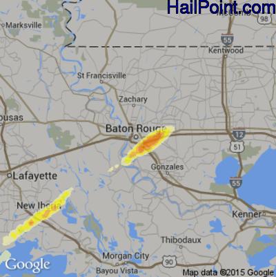 Hail Map for Baton Rouge, LA Region on April 7, 2014
