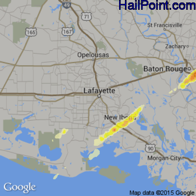 Hail Map for Lafayette, LA Region on April 7, 2014