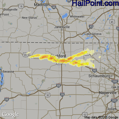 Hail Map for Rockford, IL Region on April 12, 2014