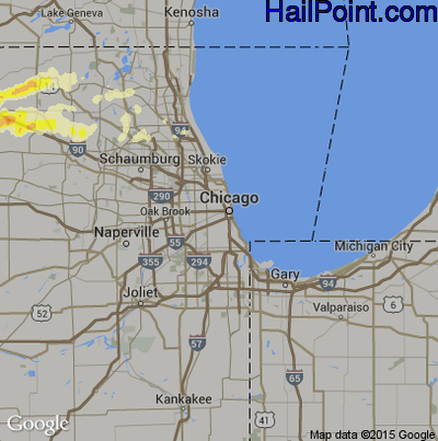 Hail Map for Chicago, IL Region on April 12, 2014