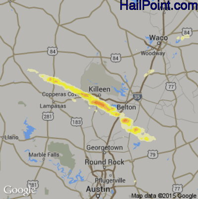 Hail Map for Killeen, TX Region on April 14, 2014